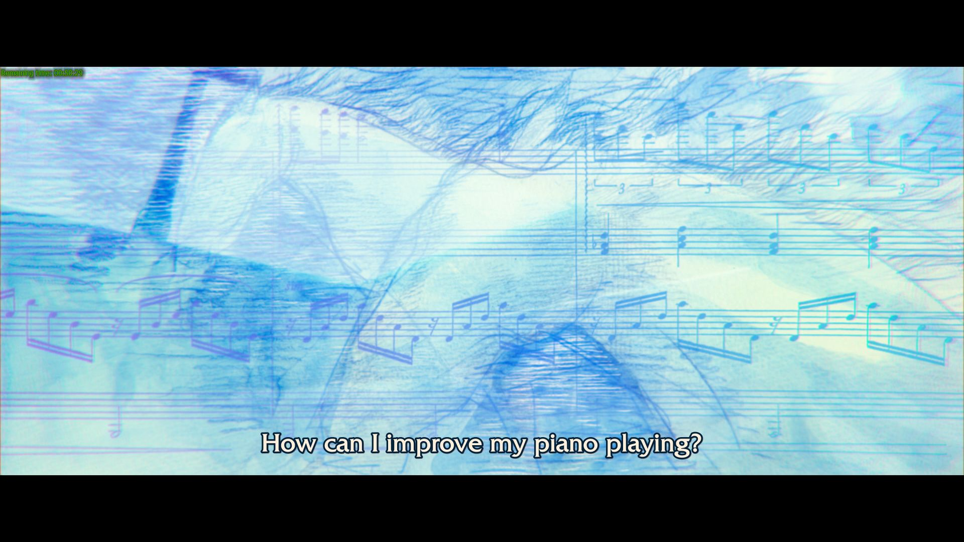 An uncomfortable amount of air time is spent on Shinji's struggles with the piano.