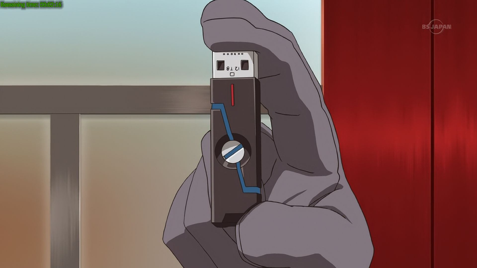 Personally, the greatest device you can find in this anime version of 2050 is not the LBX or the fortified cardboard, but the 12 Terabytes pen drive as shown above. It is funny though that that pen drive still use USB connector instead of something like Thunderbolt connector. Transferring files into/from that pendrive will surely takes hours!